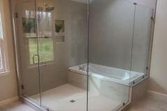 Custom Frameless Shower Door with Inline Panel and Return