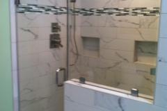 Frameless shower door and inline panel, Brushed Nickel hardware - Bristow, VA
