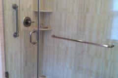 Frameless Door and Panel with through-glass towel bar - Fredericksburg, VA