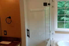 """Custom 3/8"""" Clear tempered shower door with inline panel and return."""